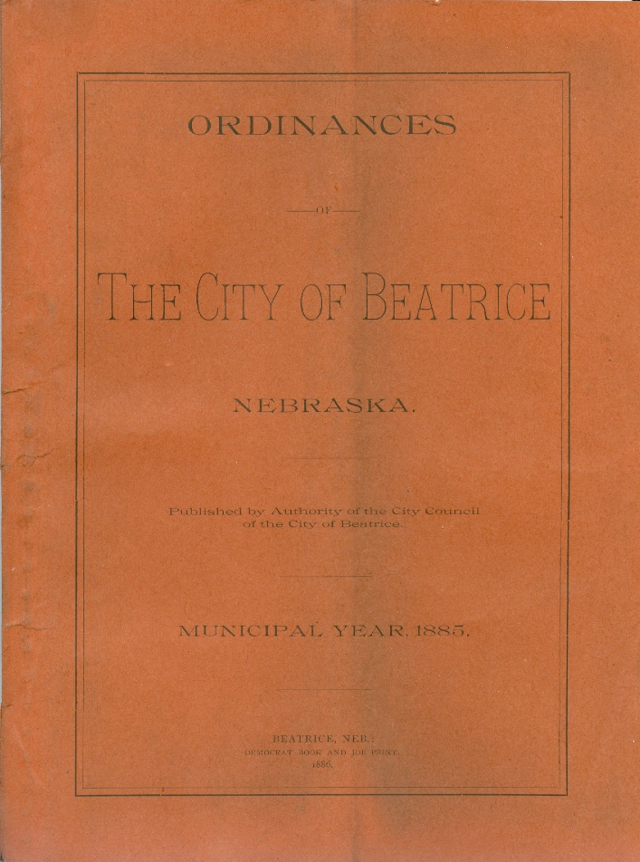 City of Beatrice Ordinances, 1885 (NSHS RG308)