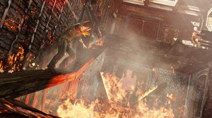 Uncharted 3 game Nathan in a burning building