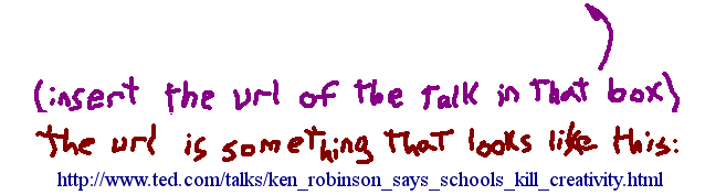 Insert the URL of the talk in that box. The URL is something that looks like this: http://www.ted.com/talks/ken_robinson_says_schools_kill_creativity.html