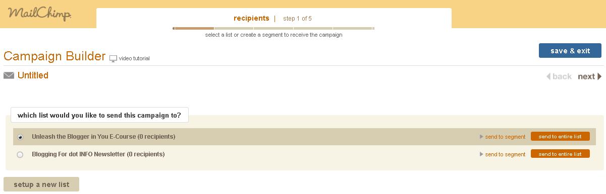 MailChimp Campaign - Choose Your Designated List