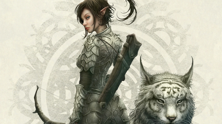 Half Elf Girl Picture  (2d, fantasy, girl, woman, elf, warrior, tiger)