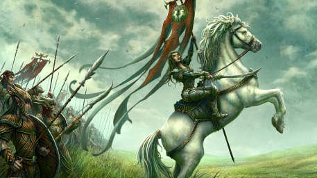 The Young Heirs Picture  (2d, fantasy, wizards of the coast, elves, warriors, horse)