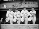 Old Time Red Sox players In Fenway Dugout