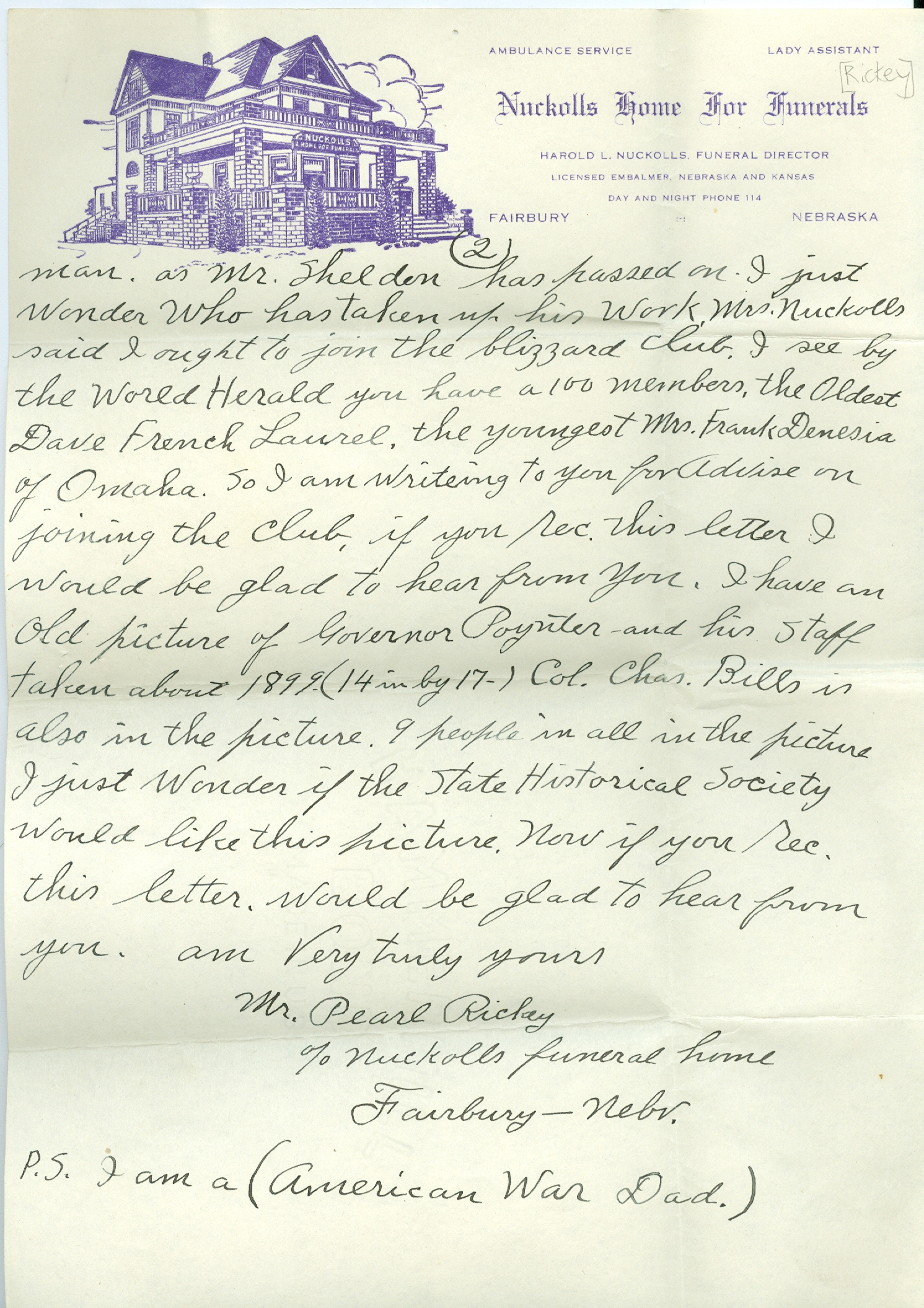Letter by Pearl F. Rickey, p. 2 (NSHS RG3658.AM)
