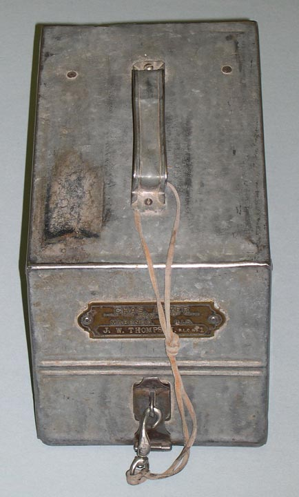 Mail carrier strongbox used by J.W. Thompson (NSHS 11055-2720-1).