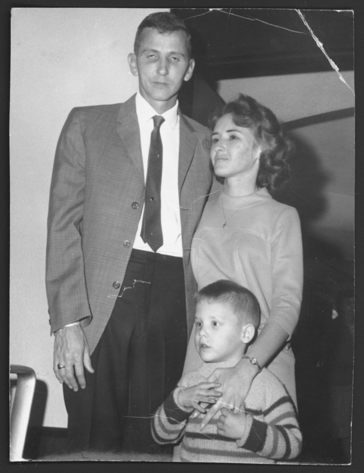 Charles R. Sterling with his wife and son, shortly after his release.