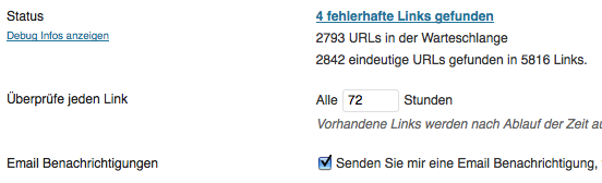 Screenshot Broken Link Checker direkt nach der Installation