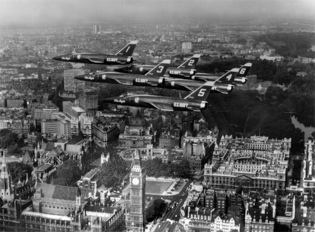 Blue Angels squadron in flight over London, 1965