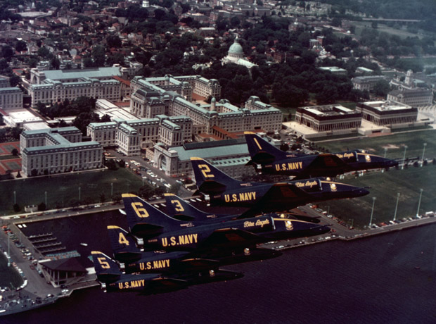 Blue Angels squadron in flight over Washington, DC, 1976