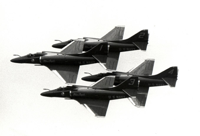 Blue Angels squadron in flight, 1986