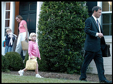 Supreme Court nominee John G. Roberts Jr. and his wife, Jane, take their children, Josie, 5, and Jack, 4, to their first day of school in Chevy Chase.