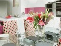 Dining table at Contemporary Fresh White Pink Kitchen Design