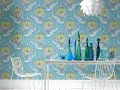 Blue floral Old Style in Modern Contemporary Retro Wallpaper Decorating Ideas