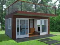 Comfortable Backyard Home Office Design front image with opened door
