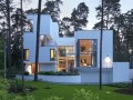 Front View of Modern U-Shaped Villa Design with White Painted Exterior