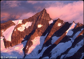 Forbidden Peak at sunset. Photo © Carl Skoog.