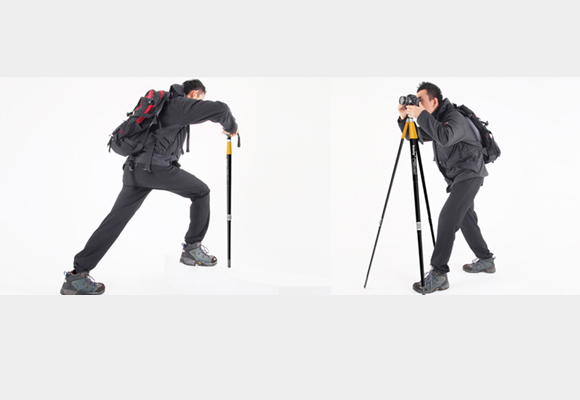 Trinity: Two-in-one hiking cane and tripod