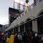 Crowds packed the McCovey Cove walkway outside AT&T Park during Game 1 of the World Series. (CALIFORNIA BEAT PHOTO)
