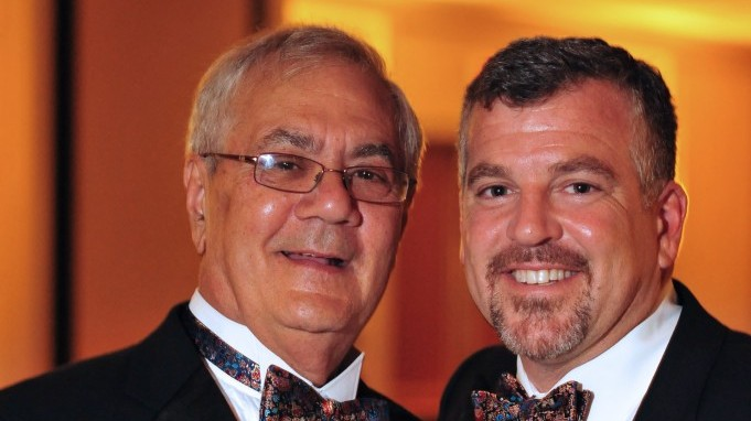 US Rep. Barney Frank, D-Mass., left, and Jim Ready posing at their wedding reception Saturday July 7, 2012. Frank married his longtime partner in a ceremony officiated by Massachusetts Gov. Deval Patrick in Newton, Mass. Saturday. (photo credit: AP Photo/Fotique, Jaime E. Connolly)