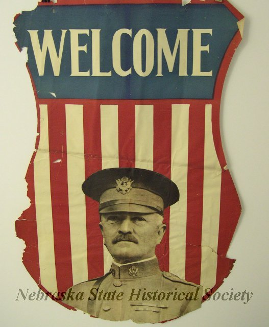 A World War I poster featuring Gen. John J. Pershing. NSHS 13000-3565