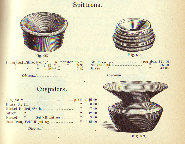 A Handlan Company catalog page from 1893 illustrating spittoons/cuspidors for sale.