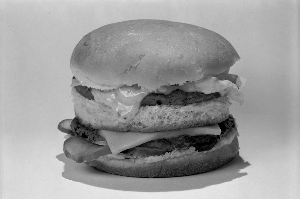 Close-up shot of the Big Boy burger served at Ken Eddy's Drive In (RG2183.PH001953-000702-1)
