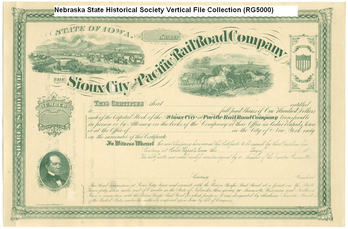 Sioux City and Pacific Railroad Company stock certificate (NSHS RG5000)
