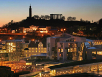 Scottish Parliament building and Calton Hill