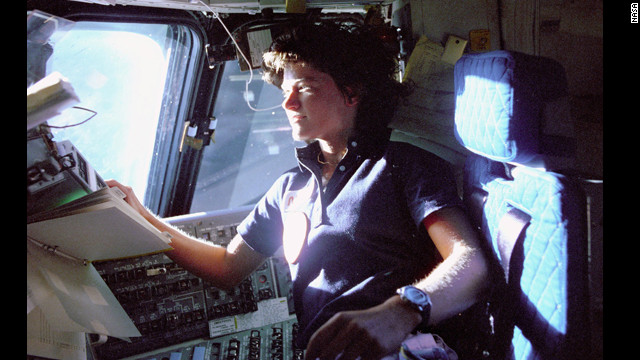 Ride takes her seat aboard the Challenger on June 19, 1983, the day she became the first American woman in space.
