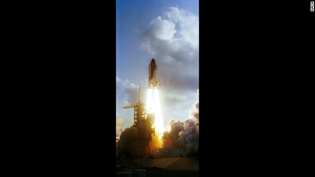 Ride and the other crew members of STS-7 achieve liftoff aboard the Challenger on June 18, 1983.