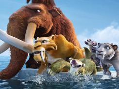 A first look at 'Ice Age: Continental Drift' featuring (l to r) Manny (Ray Romano), Diego (Denis Leary), Sid (John Leguizamo), Granny (Wanda Sykes), Shira (Jennifer Lopez) fleeing from some new enemies.