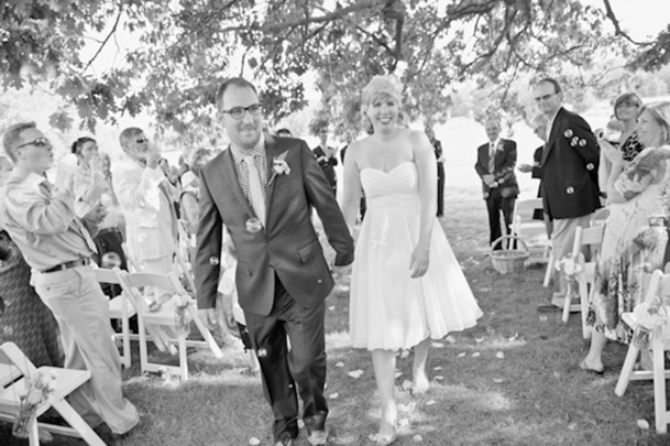 recessional bride in short dress white