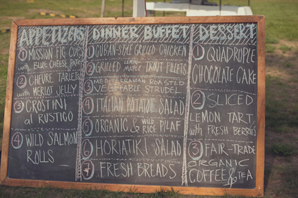 chalkboard menu outdoor wedding