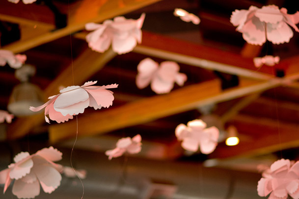 Tiffany Co Themed Bridal Shower - Premium Classy Collection - 34 DIY paper flowers pink hanging from ceiling wedding