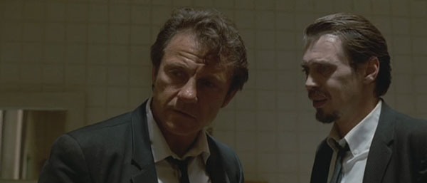 White and Pink in a scene from Reservoir Dogs