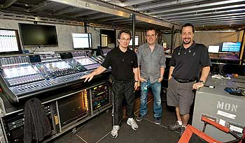 In monitor world, from left: Niall Slevin, Alistair McMillan and Dave Skaff