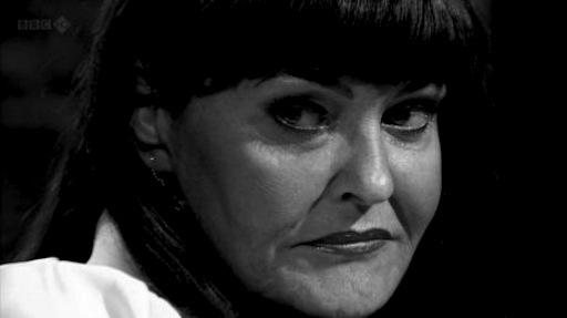 Hilary Devey displays her typically carefree demeanour.
