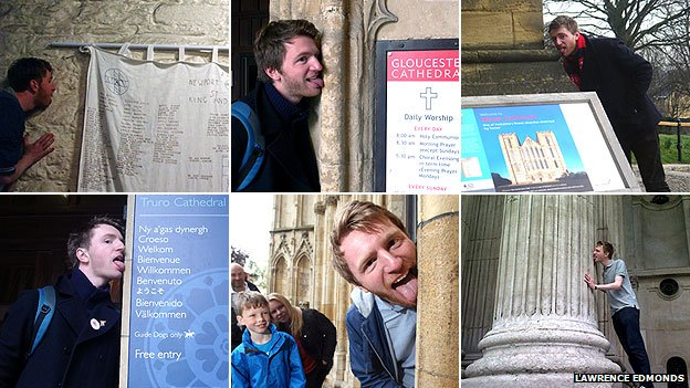 Lawrence Edmonds licking Newport Cathedral, Gloucester Cathedral, Rippon Cathedral, Truro Cathedral, York Minister and St Paul's