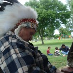 Chief Eagle Eye, Clyde W. Creech Sr. resting his eyes at the 2009 Annual Meeting