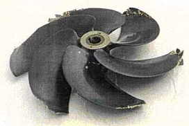 Damaged carbon fiber propeller