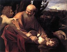 Abraham about to sacrifice his own son. Painting: Caravaggio.