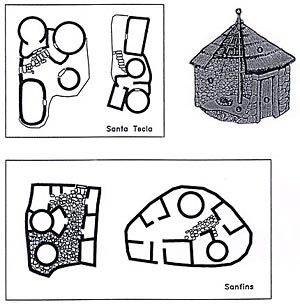 Figure 36.  Dwellings and domestic structures of the Late Iron Age in northwest Iberia (After Fernández-Posse 1998).