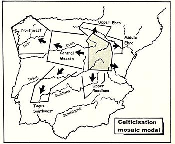 Figure 13. The 'mosaic model' for the Celticization of Iberia from the Celtiberian nuclear area (Drawn after Almagro-Gorbea data, pers. comm.).