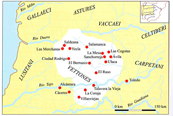 Figure 26. The cultural area of the Vettones in Western Meseta with main settlements and the boundaries with other populi according to Classical written sources (After Álvarez-Sanchís 2001).