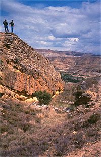 Figure 19.  A view of the ditch at Contrebia Leukade (La Rioja). (After Lorrio 2001).