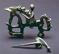 Figure 23. A horseman fibulae from Numantia (Soria), showing an enemy's severed head. (After Jimeno et al. 2002).