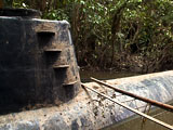 A picture of the first known fully submersible cocaine submarine (sub) found in Colombia