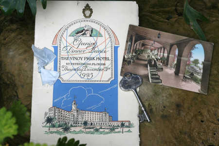 Local historian Robin Gonzalez found these treasures on eBay: an original menu from the first dinner at the Vinoy, on Dec. 31, 1925; a 1941 postcard featuring the hotel?s veranda; and an old room key.