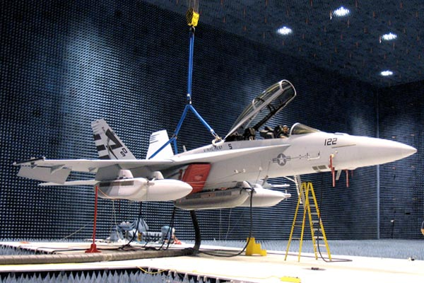 The EA-18G program completed INCANS testing in the anechoic chamber at Naval Air Station Patuxent River, Md. (Neg#: DVD-1326-1)