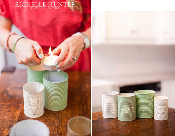 tea lights in painted tin cans DIY project